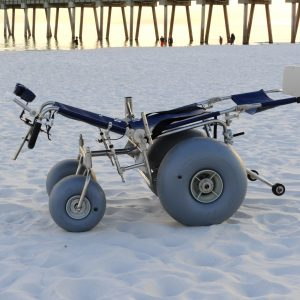 Custom Beach Wheelchair with Reclining Backrest and Elevated Foot Rest for our Fragile Friends